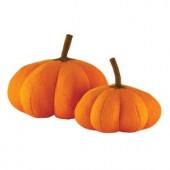 10 in. Orange Wool Felt Pumpkins (Set of 2)