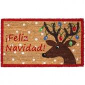 Feliz Navidad Reindeer Vinyl Back Coco 18 in. x 30 in. Door Mat