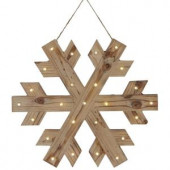 18 in. W Lighted Wood Snowflake Christmas Ornament