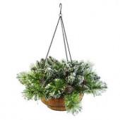 20 in. Glittery Bristle Pine Hanging Basket