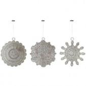 5 in. Pierce Metal Snowflake Christmas Ornaments (Set of 3)