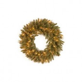 24 in. Glittery Gold Pine Artificial Wreath with Glitter, Gold Cones, Gold Glittered Berries