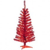 4 ft. Red Tinsel Artificial Christmas Tree with Clear Lights