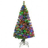5 ft. Fiber Optic LED Evergreen Artificial Christmas Tree with 150 Multi Lights in 16 in. Folding Stand
