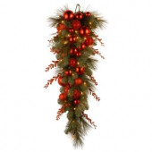 Decorative Collection 36 in. Christmas Red Mixed Teardrop with Battery Operated Warm White LED Lights