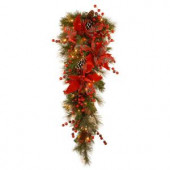 Decorative Collection 36 in. Tartan Plaid Teardrop with Battery Operated Warm White LED Lights
