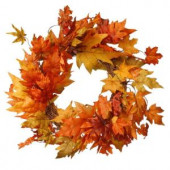 Harvest Accessories 24 in. Artificial Wreath with Maples