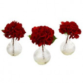 12 in. Red Hydrangea with Glass Vase (Set of 3)