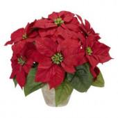 13.0 in. H Red Poinsettia with Ceramic Vase Silk Flower Arrangement