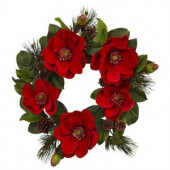 24 in. Red Magnolia and Pine Artificial Wreath