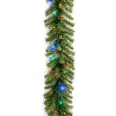 Norwood Fir 9 ft. Garland with Multicolor LED Lights